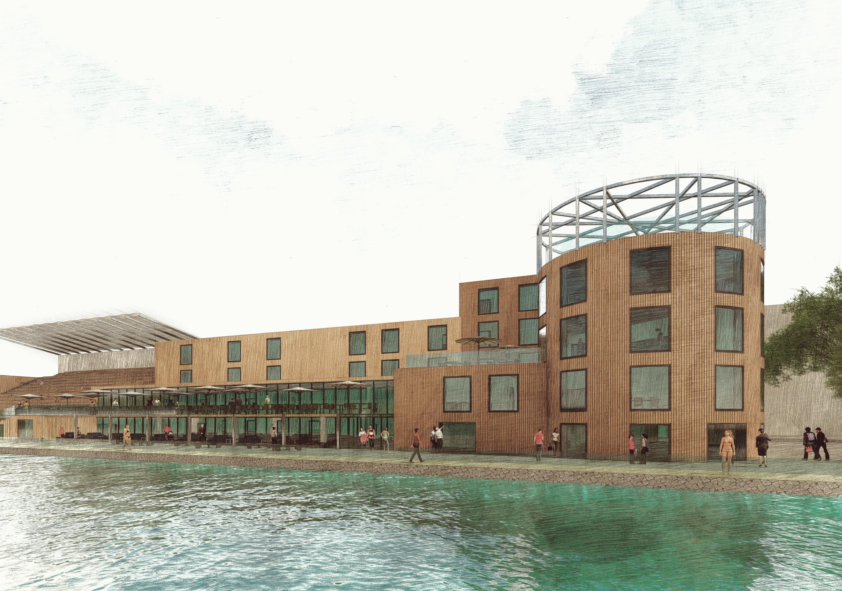 Das Hauptgebäude der SURFWRLD mit einem Wellenbecken
